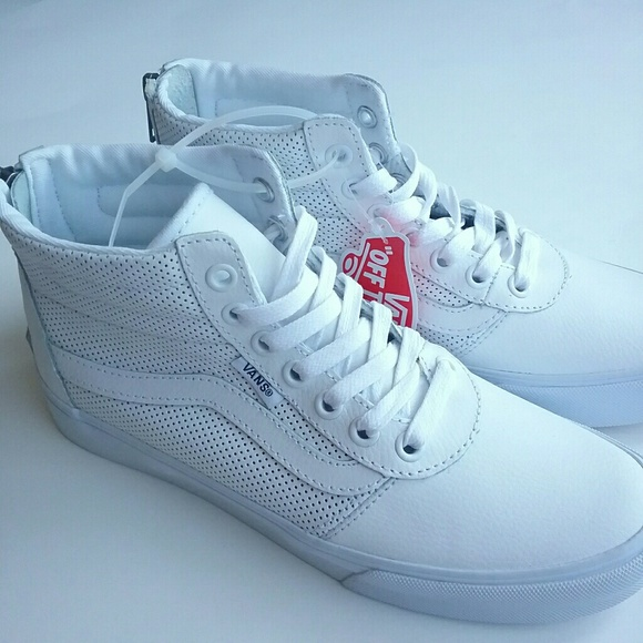 7a565f1d8d5851 VANS Leather Milton Hi Top Zip Sneakers White sz 6